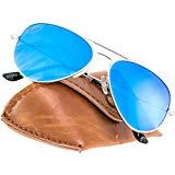 3268e58620bc2 Rivacci Gafas de Sol Aviador Hombre Mujer Polarizadas - Marca Retro    Vintage – Lentes Piloto Deportivas Espejadas – Plata   Espejo Azul  Polarizado