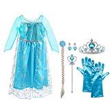 2141531a086995 Vicloon Elsa Frozen Costume,Set da Principessa Elsa Corona Bacchetta Guanti  Treccia,Ragazze Elsa Principessa delle Neve Abiti Partito Vestito Costume
